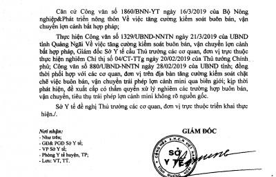 Công văn số: 489/SYT-TT V/v Tăng cường kiểm soát buôn bán, vận chuyển lợn cảnh bất hợp pháp